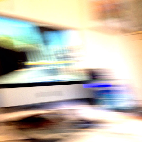 Blurred photograph of Apple iMac